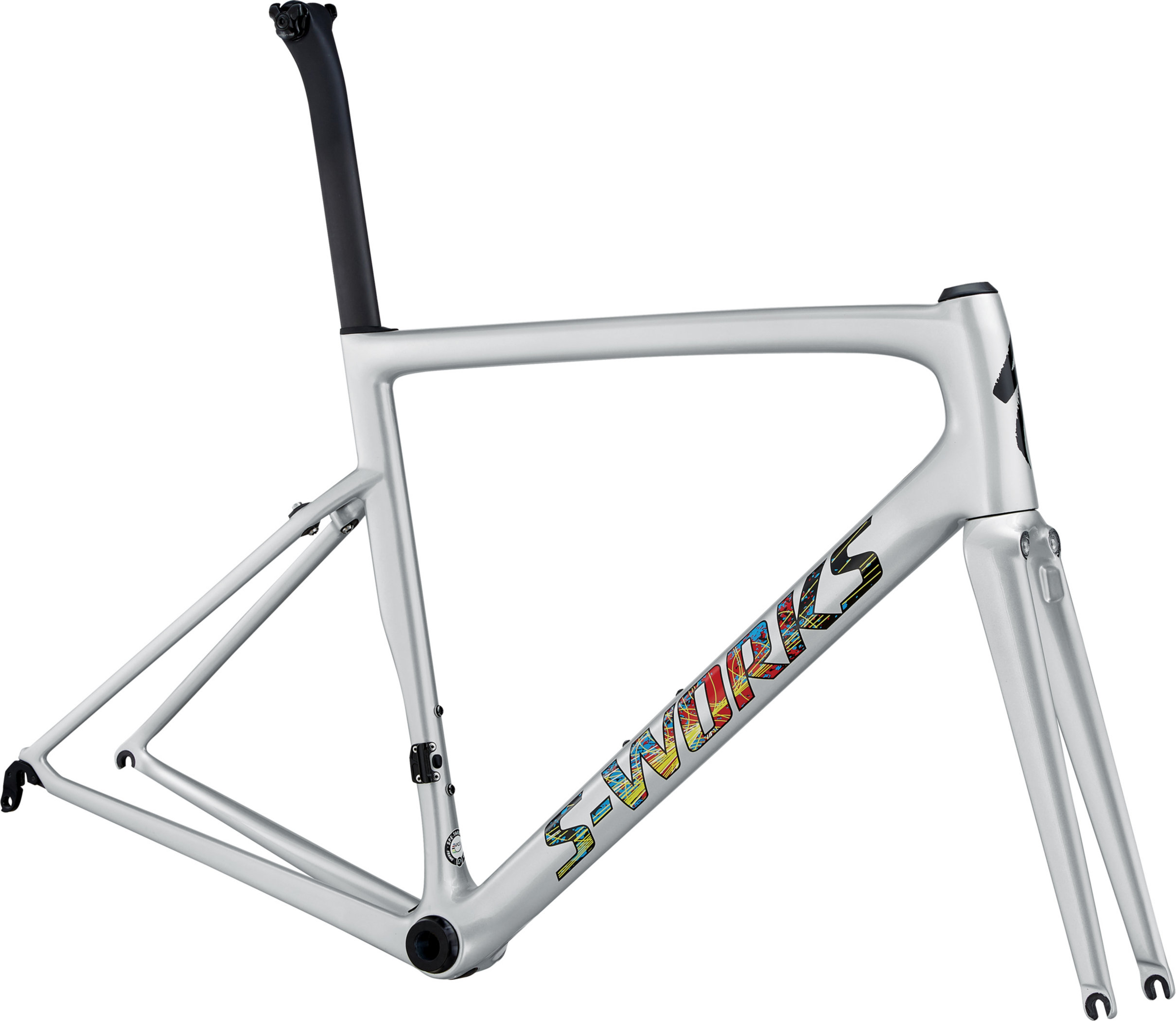Specialized Men´s S-Works Tarmac Frameset Gloss Light Silver/Explosion/Clean 56 - Alpha Bikes