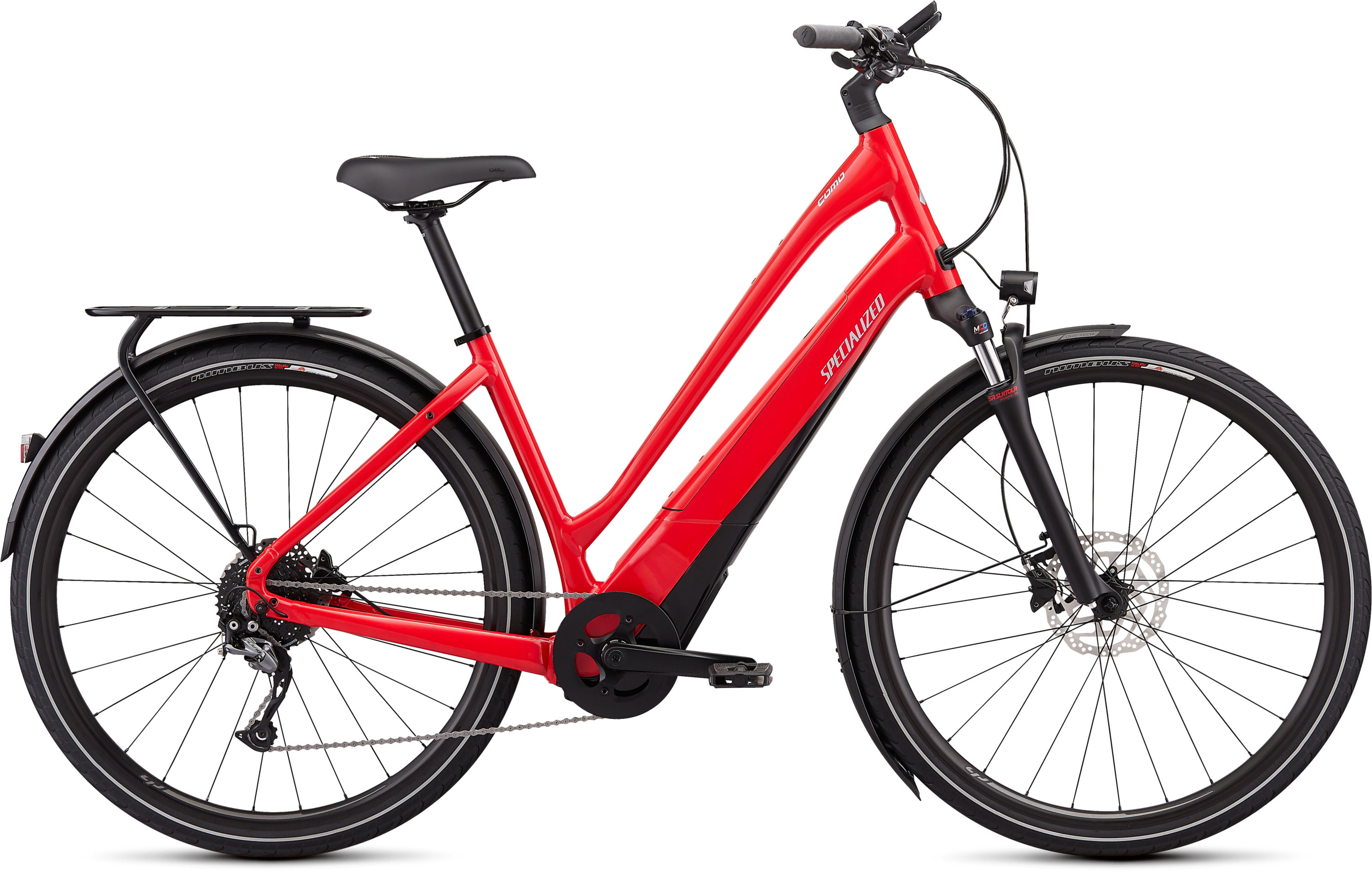 Specialized Turbo Como 4.0 Low-Entry Flo Red W/Ghostblue Pearl/Black/Chrome L - Pulsschlag Bike+Sport