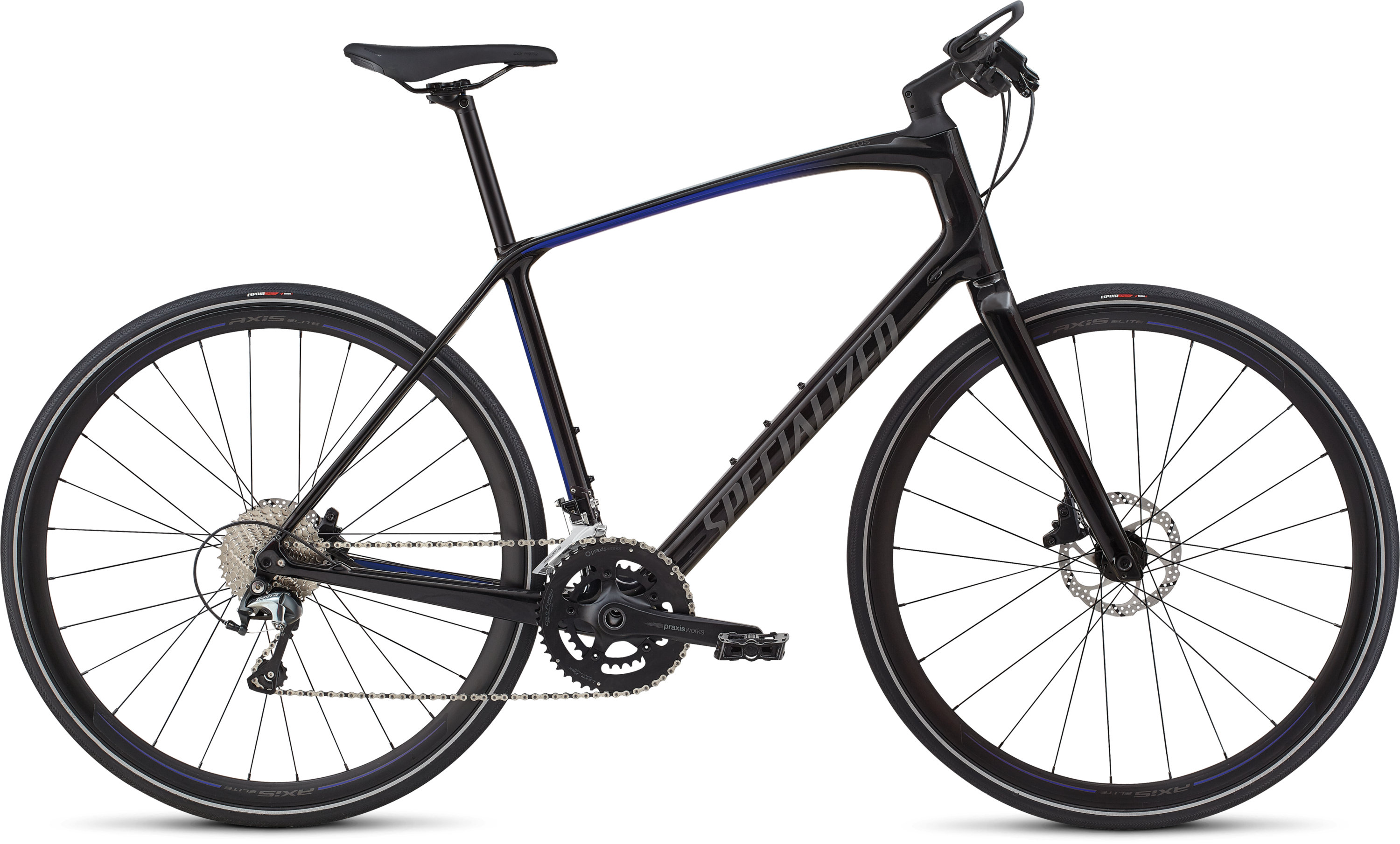 Specialized Men´s Sirrus Elite Carbon Tarmac Black/Rocket Red-Acid Blue Fade/Charcoal Reflective L - Pulsschlag Bike+Sport