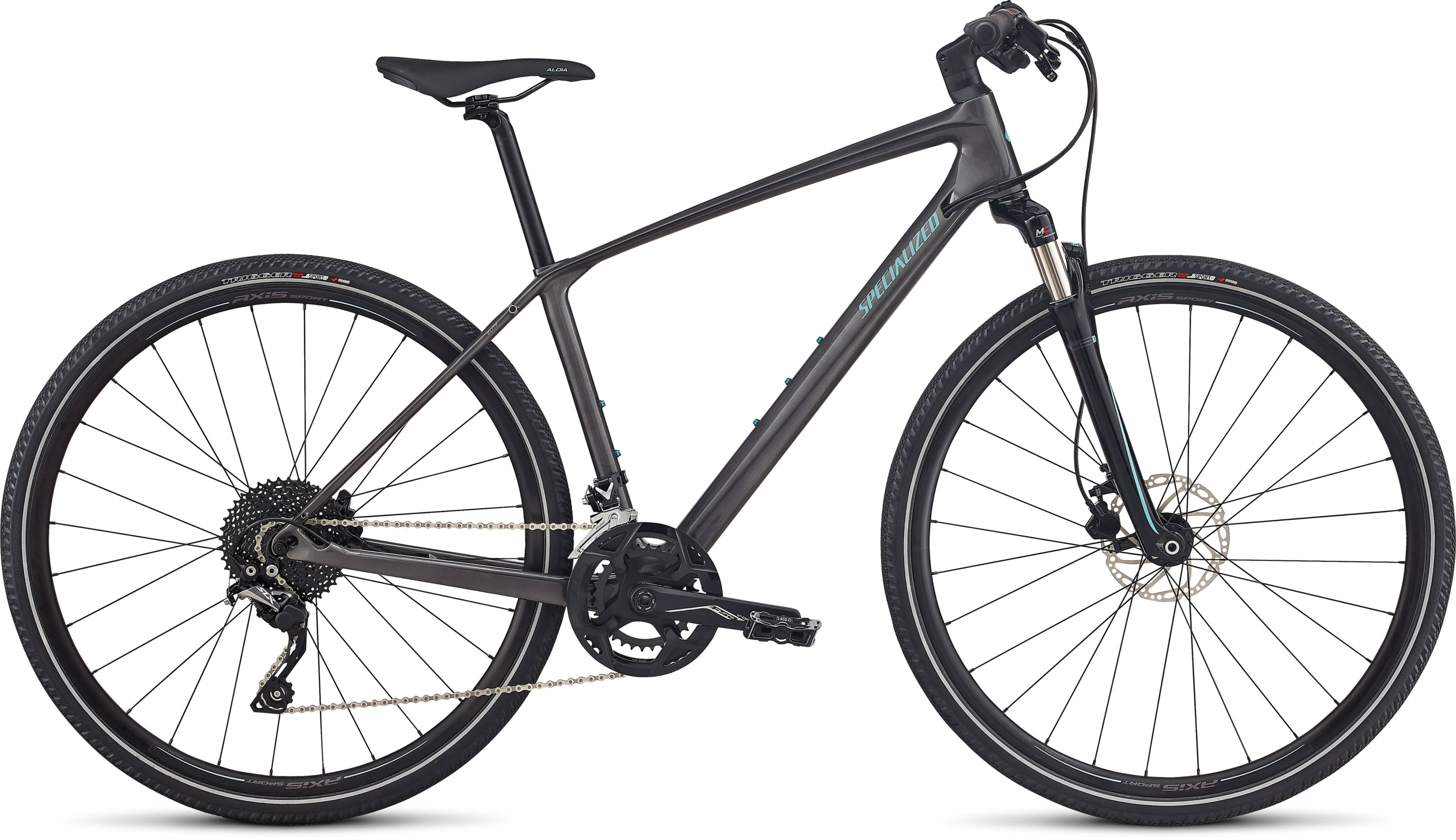 Specialized Ariel Elite Carbon LIGHT SILVER TINT CARBON/TARMAC BLACK/LIGHT TURQUOISE REFLECTIVE L - Pulsschlag Bike+Sport