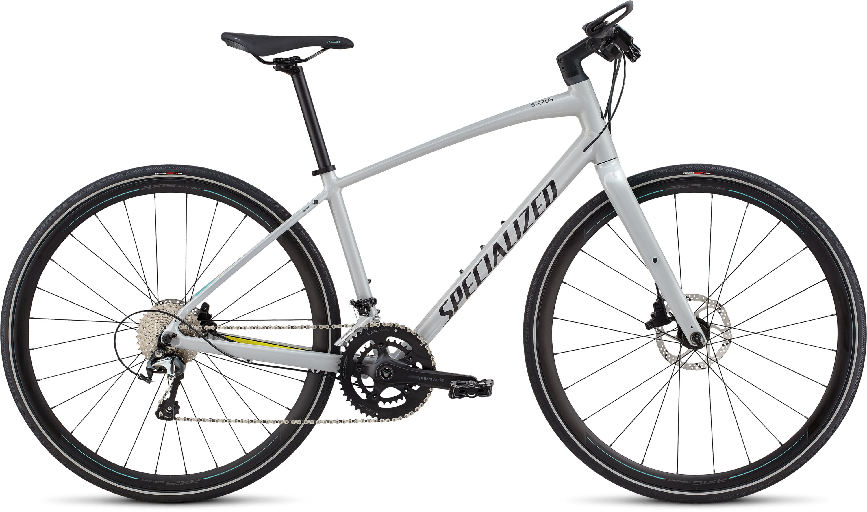 Specialized Women´s Sirrus Elite Alloy Filthy White/Limon/Acid Mint L - Pulsschlag Bike+Sport