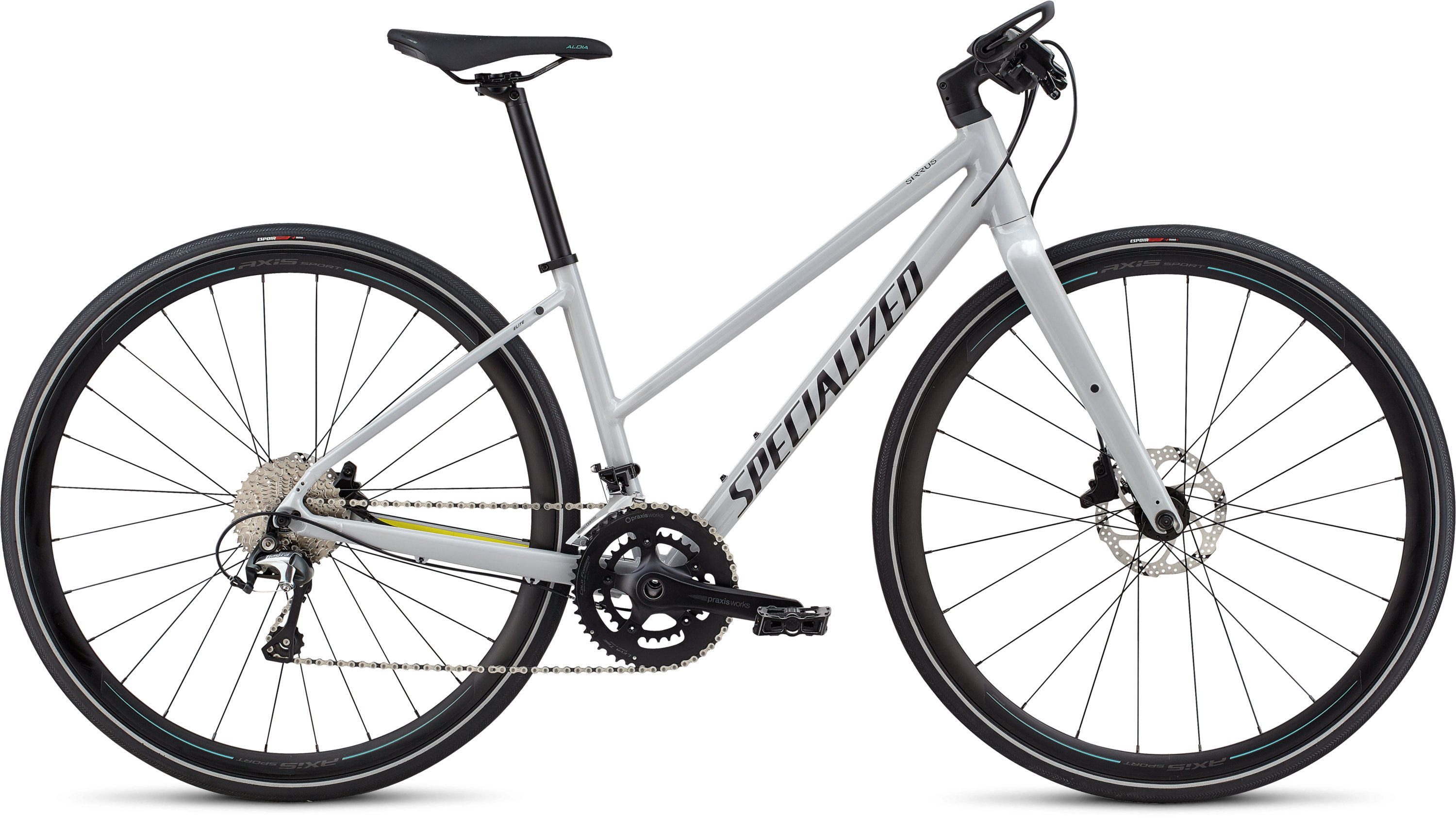 Specialized Women´s Sirrus Elite Alloy - Step-Through Filthy White/Limon/Acid Mint L - Pulsschlag Bike+Sport