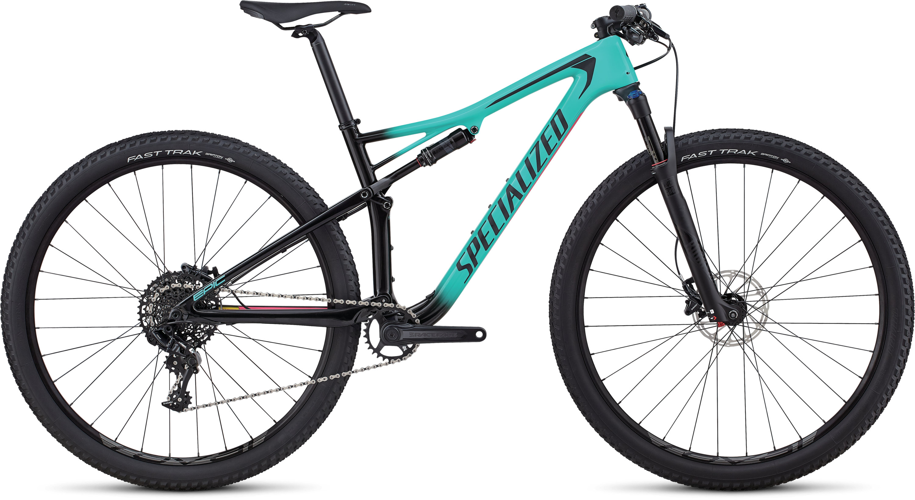 Specialized Women´s Epic Comp Carbon Gloss Satin Acid Mint Fade To Tarmac Black / Acid Pink L - Pulsschlag Bike+Sport