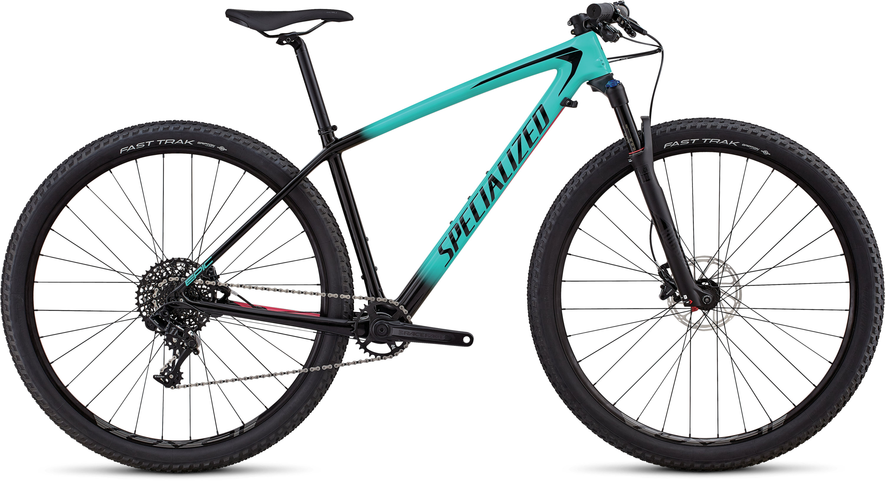 Specialized Women´s Epic Hardtail Comp Carbon Gloss Acid Mint Fade To Tarmac Black / Acid Pink L - Pulsschlag Bike+Sport
