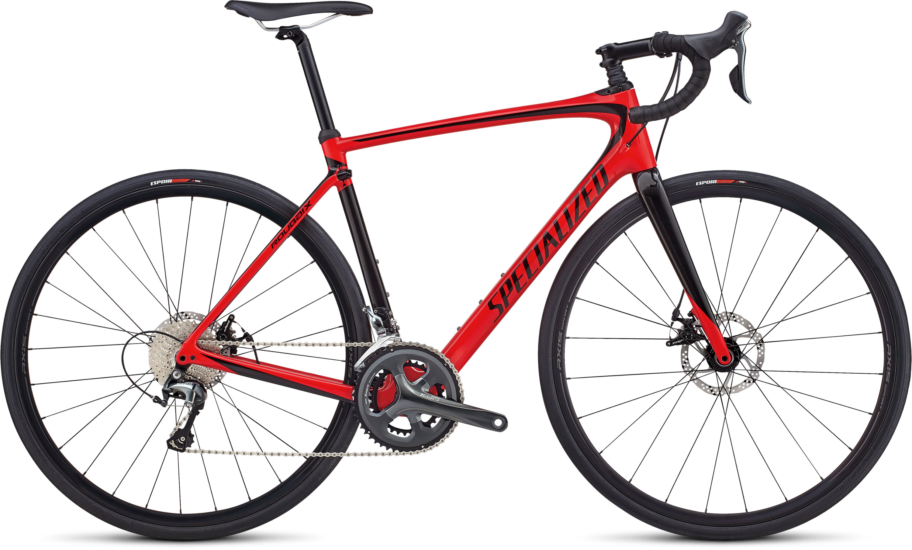 Specialized Roubaix Gloss Flo Red / Tarmac Black 49 - Pulsschlag Bike+Sport