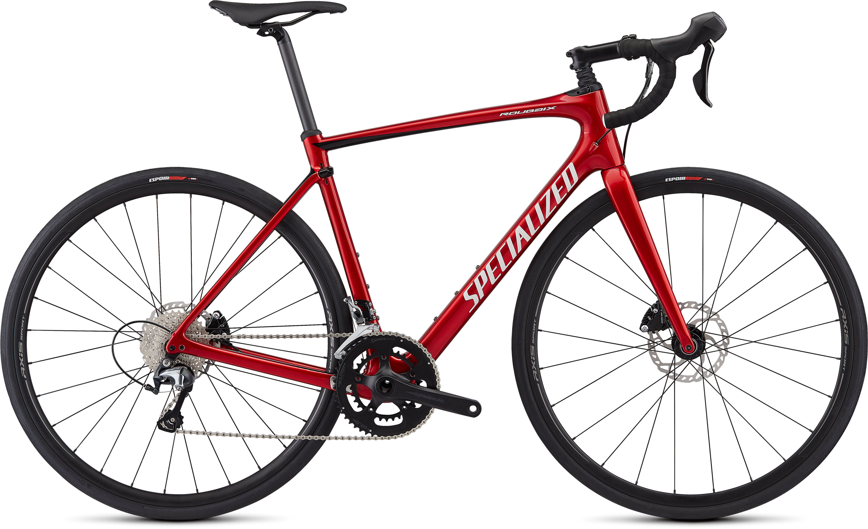 Specialized Roubaix  Hydraulic Disc Gloss/Candy Red/Tarmac Black/Metallic White Silver 49 - Pulsschlag Bike+Sport