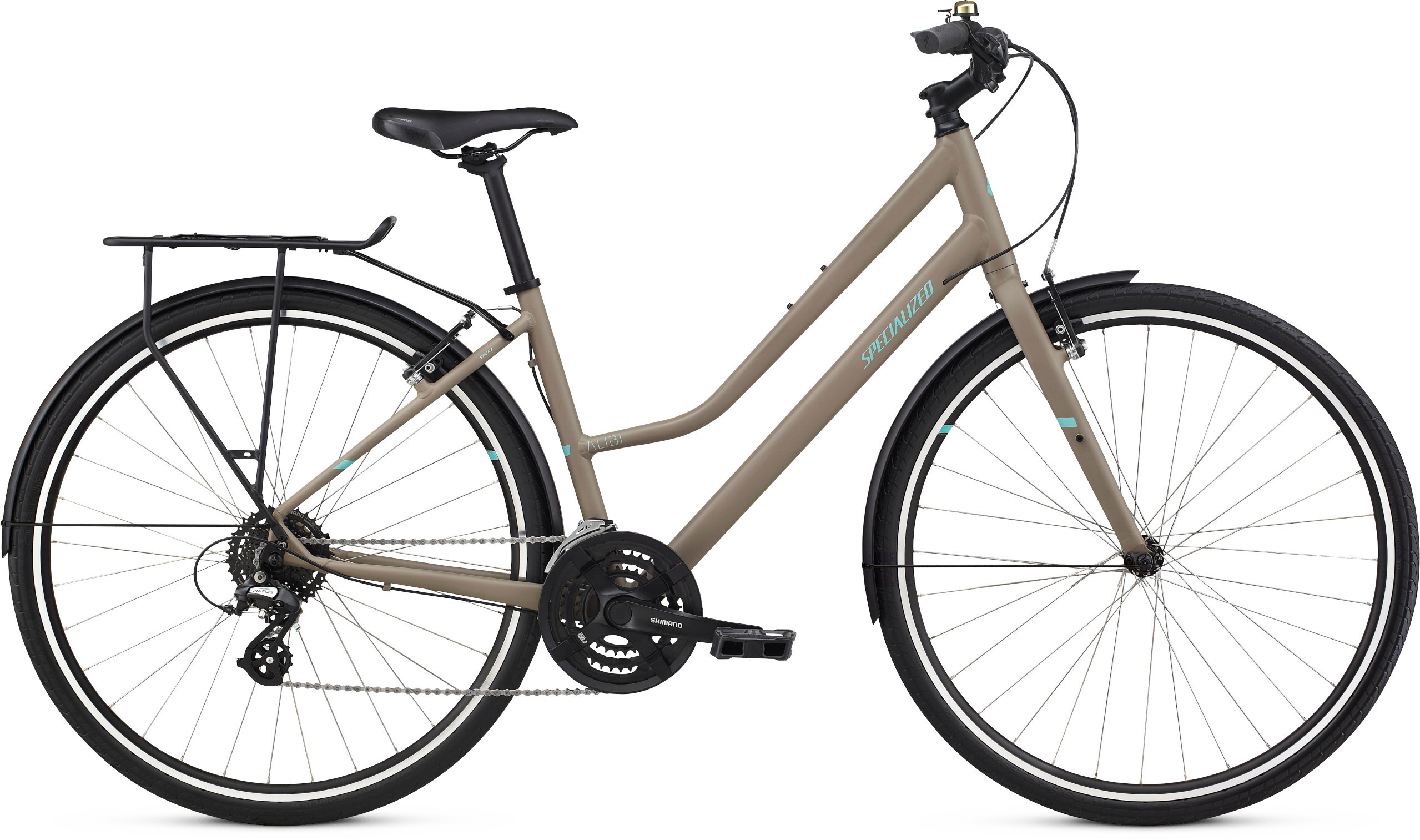 Specialized Alibi Sport EQ Step-Through Satin Taupe/Lt Turquoise/Black LG - Pulsschlag Bike+Sport