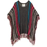 Women's World's Apart Poncho Sweater - Black Patterned