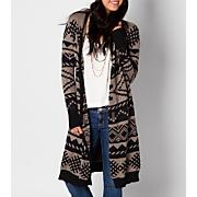 Women's Cosby Long Sweater - Black Patterned