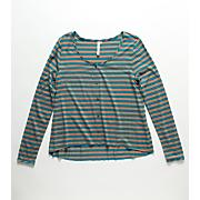 Girls' Sahara Stripe LS Top - Blue Patterned