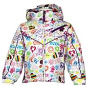Girls' lian Jacket - White Patterned