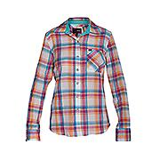 Women's Wilson Long Sleeve Boyfriend Plaid Shirt - Orange Patterned