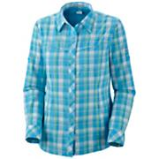 Women's Insect Blocker Plaid Long Sleeve Shirt - Blue Patterned