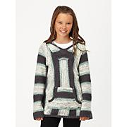 Girls' Broken Powder Stripe PO Hoodie - Gray Patterned