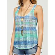 Women's Shine Your Light Tank - Blue Patterned