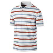 Men's Stretch UV  Stripe Polo - White
