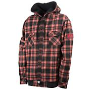 Men's Plaid Snap Up Hoodie - Red Patterned