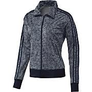 Women's Flower Track Top - Black Patterned