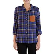 Women's Endore Flannel Button Up Top - Purple Patterned