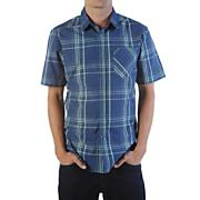 Men's Why Factor Plaid S/S Woven Shirt - Navy / Dark Blue
