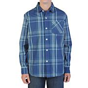 Boys' Why Factor Plaid L/S Woven Shirt - Navy / Dark Blue