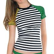 Women's Dotted Line Short Sleeve Rashguard - Stripe