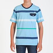 Boy's Avenida S/S Marled Pocket Crew Tee - Blue Patterned