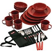 24-Piece Enamelware Dish Set and Flatware
