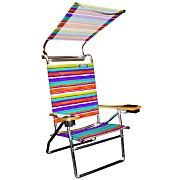4 Pos Deluxe Alum Beach Stripes w/canopy