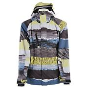 Men's 2013 Travis Rice Hydro Snowboard Jacket Multi Gray Yellow Blue
