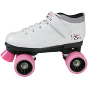 Pacer GTX-500 Womens Speed Roller Skates 2013, Boot:White Frame:Black Wheels:Pink, medium