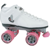 Sure Grip International Boxer Womens Speed Roller Skates, Boot:White Frame:Gray Wheels:Pink, medium