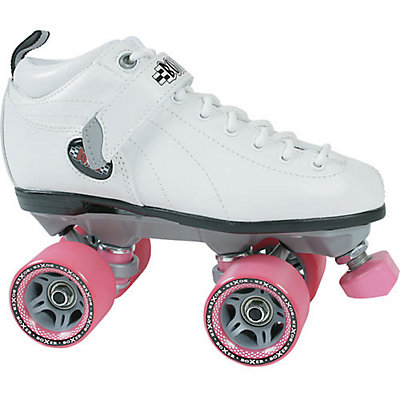 Sure Grip International Boxer Womens Speed Roller Skates, Boot:White Frame:Gray Wheels:Pink, viewer