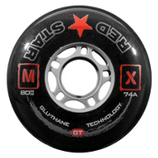 Red Star MX GT 74A Inline Hockey Skate Wheels - 4 Pack, Black, medium