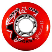 Red Star Red Rocket 84A Inline Hockey Skate Wheels - 4 Pack, Red, medium