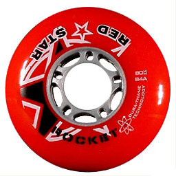 Red Star Red Rocket 84A Inline Hockey Skate Wheels - 4 Pack, Red, 256