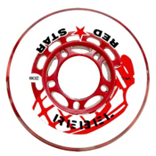 Red Star Rebel 74A Inline Hockey Skate Wheels - 4 Pack, Clear-Red, medium