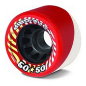 Sure Grip International 50/50 Roller Skate Wheels - 8 Pack, Red-White, medium