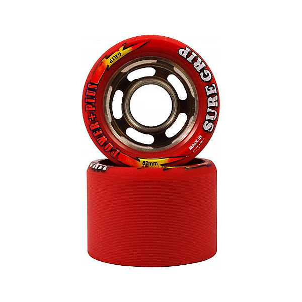 Sure Grip International Power Plus Roller Skate Wheels - 8 Pack, Red, 600
