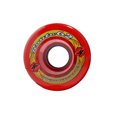 Kryptonics Route 62mm Roller Skate Wheels - 8 Pack 2016, Clear Red, large
