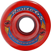 Kryptonics Route 65mm Roller Skate Wheels - 8 Pack 2013, Clear Red, medium