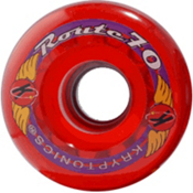Kryptonics Route 70mm Roller Skate Wheels - 8 Pack 2013, Clear Red, medium