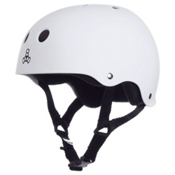 Triple 8 Brainsaver SweatSaver Mens Skate Helmet, White Rubber, medium
