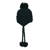 Turtle Fur Aran Hand Knit Womens Hat, Black, medium