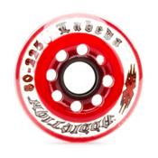 Labeda Addiction XXX 225 Indoor Inline Hockey Skate Wheels - 4 Pack, Clear-Red, medium