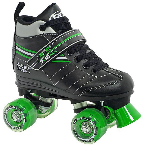 Roller Derby Laser 7.9 MX Boys Speed Roller Skates, Black-Green, 600