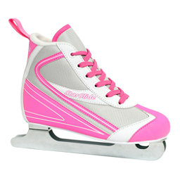 Lake Placid Star Glide Girls Double Runner Ice Skates, Pink-White, 256