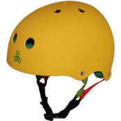 Triple 8 Brainsaver Sweatsaver Mens Skate Helmet, Rasta Yellow Rubber, medium