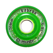 Labeda D3 Dynasty X Soft Inline Hockey Skate Wheels - 4 Pack, Clear-Green, medium