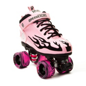 Rock Pink Flame Swirl Womens Speed Roller Skates 2013, Pink-Black Flames, medium